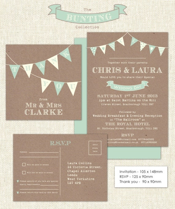 Bunting Wedding Invite: Downloadable Bunting Wedding Stationery Set By