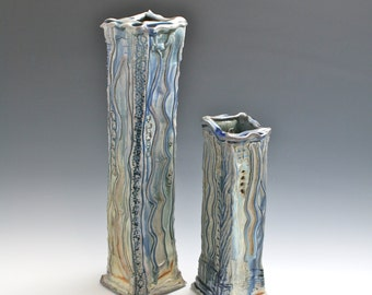 Blue Porcelain Square Vase Set, Blue Sculptural Pottery, Blue Ceramic Vase Set