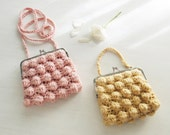 Crochet pattern Purse Zoe bubble PDF - easy PHOTO TUTORIAL - recipe for any purse frame size - Instant Download