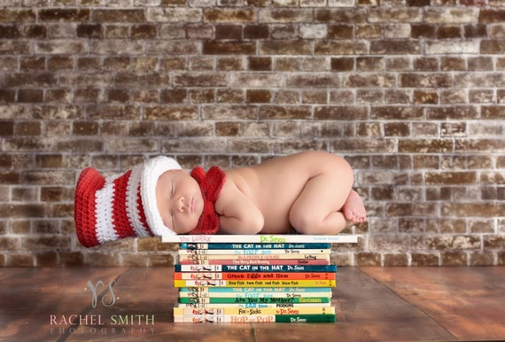 Cat in the Hat, Baby Hat and Bow Tie, Dr. Seuss Inspired, Boy or Girl, Red and White Striped, Top Hat, Newborn Photo Prop