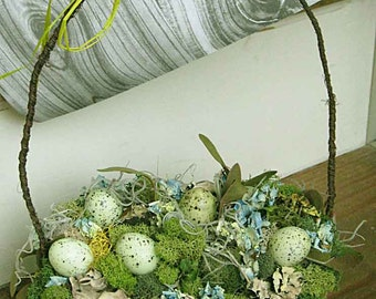 Fairies' woodland gathering basket for springtime or forest woodland wedding decor, mosses, blue hydrangeas, pale green speckled eggs