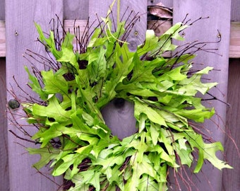 Earth Day, Summer wedding wreath, woodland wedding, natural oak leaves, twig wreath, birch twigs, green leaf wreath