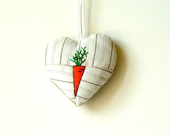 White heart with carrot ornament, urban farmer gift, orange carrot, home decor accents, valentines gift, white heart ornament, food art
