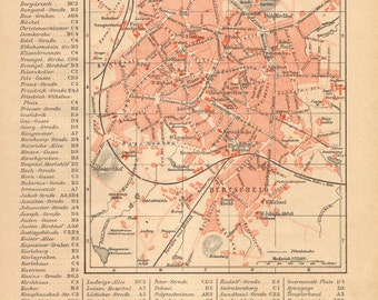 1886 Antique City Map of Aachen, Germany