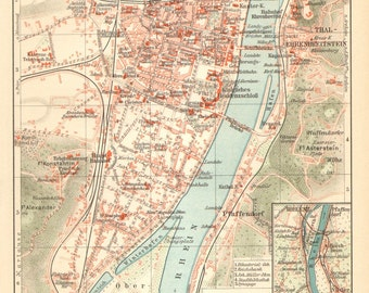 1905 Original Antique City Map of Koblenz or Coblenz