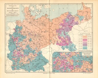 1897 Original Antique Map Showing Distribution of Major Religions in the German Empire, Catholics and Protestants
