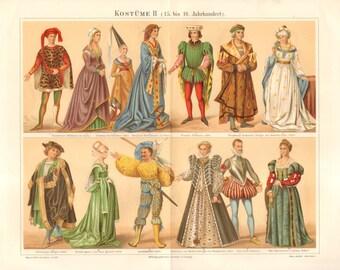 1890 Costumes of European Nobles 15-16th Century Original Antique Chromolithograph