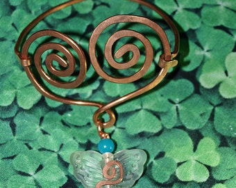 Copperwork Celtic Heart Butterfly Bracelet with Amazonite Accent