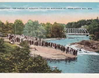 Shooting the Rapids at Keshena Falls- 1930s Vintage Postcard- Green Bay, Wisconsin- River Landscape- Souvenir View- Paper Ephemera- Used