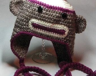 Sock Monkey Earflap for Newborn