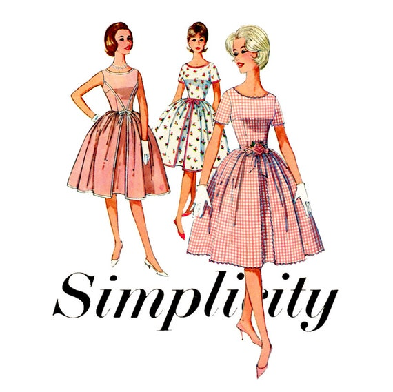 1960s Dress Pattern Simplicity 4343 Misses Full Skirt Rockabilly Party Dress Bust 36 Womens Vintage Sewing Pattern