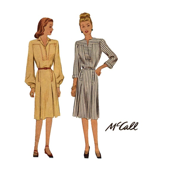 1940s Dress Pattern McCall 6351 Misses Notched Collar Pleated Skirt with Saddle Stitching Womens Vintage Sewing Pattern Bust 34 UNCUT
