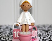 Personalized / Custom Spa Birthday Party Cake Topper with Accessories - Manicure Pedicure