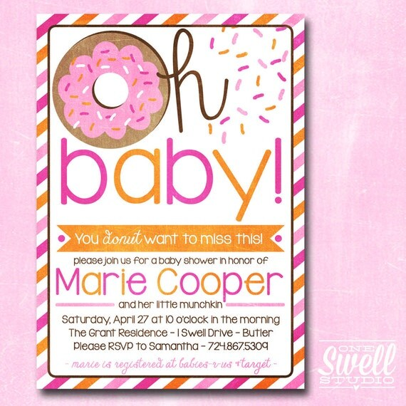 Oh Baby Donut/Doughnut Breakfast/Brunch Baby Shower DIY Printable Invitation