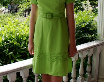 1960s Bright Green Day Dress with A-line Skirt