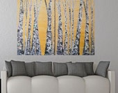 SALE: 36x48 Aspen Birch Tree Tall Textured Yellow Colorful Fall Autumn Art Multi Panel Landscape by MyImaginationIsYours