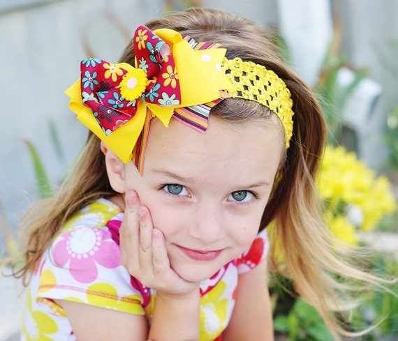 colorful hair bow, dark yellow, baby bow, infants, toddlers, big girls, hairbow