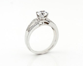 Stunning 6.5mm Forever Brilliant Moissanite  Solid 14k white gold diamond Engagement Ring-Antique