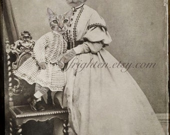 Cat in Clothes Art, Mother and Child, Victorian Family, Gray Cat Art, Cat in Dress, Anthropomorphic, Cat Family Portrait