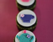 Fondant Tea Cup and Tea Pot Toppers for Decorating Cupcakes or Cookies Perfect for your Tea Party Treats