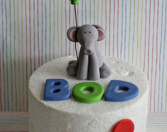 Fondant Elephant with a Balloon, Name, Age and Polka Dots Perfect for a Smash Cake or a Birthday Cake