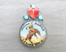 Sweetheart of the Rodeo Souvenir Pendant with Spiny Oyster and Kingman Turquoise