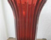 Studio Nova - Retro Vintage 1970's Red Vase from Japan Crystal Floral Piece RARE