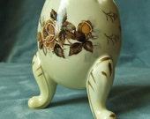 NAPCOWARE Japan Egg Vase Brown Handpainted Moriage Rose