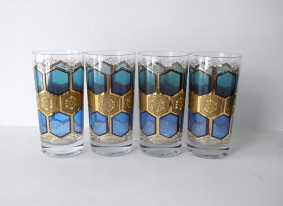 Vintage Pasinski Tumblers, Pasinksi Glasses, Set of 4, Aqua Blue and Gold