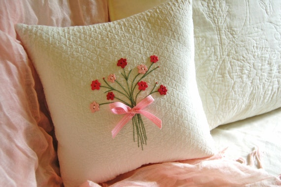 Decortaive Pillow- Spring, Pink Floral Button Posy Pillow -Pink Flower Buttons/ Hand Embroidered Bouquet
