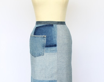 Denim Pencil Skirt with Exposed Zipper, Upcycled, size 8