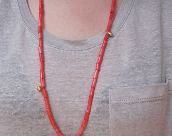 Necklace - long coral and gold bow necklace, neon, australian jewellery