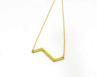 Vintage inspired chevron bar necklace brass bohemian