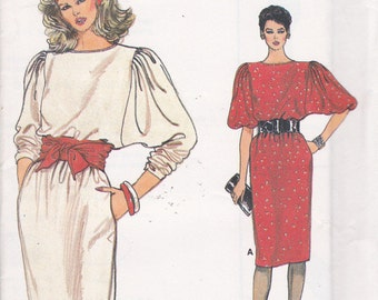 Very Easy Very Vogue 8734 pullover dress with Dolman sleeves Sizes 8 10 12 uncut sewing pattern from 1987
