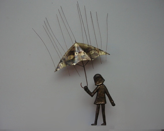 Metal Umbrella Wall Decor : Bijan metal wall sculpture girl with umbrella vintage by
