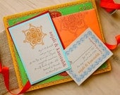 Henna Love - Eco Friendly, Modern Indian Wedding Invitations, Orange, Red, & Aqua - Sample (As Seen on Style Me Pretty)  - Sample