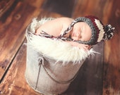 Baby Ski Hat with Goggles Braids Pom--Adorable Ski Bunny Stocking Cap--Perfect Newborn Photo Prop