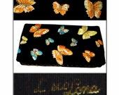 Vintage 1960s Butterfly Clutch Velvet Embroidered Butterflies Purse Handbag Mad Man Rockabilly Cocktail Garden Party Dress Designer