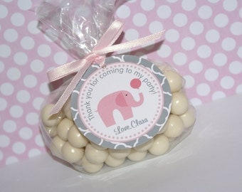 Little Peanut Elephant Favor Tags, Pink Elephant Favor Tags, Pink and Grey Elephant Birthday, Pink & Grey by The Party Paper Fairy