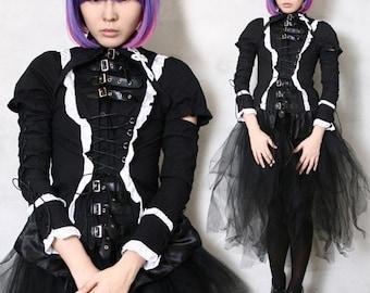 Black Gothic Lolita Punk Aristocra EGL Gear Corset Blouse Shirt Cosplay LARP 3PC