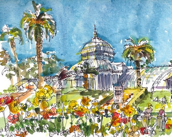 San Francisco Conservatory of Flowers, print of a watercolor sketch, fine art print