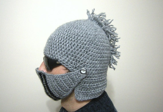 SALE Knight Helmet Hat Crochet Slouch Mens Convertible Beanie Hat ...