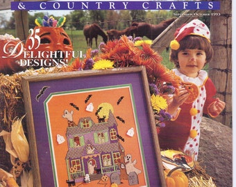 90s Cross Stitch & Country Crafts Magazine September/October 1993 Counted Cross Stitch Charts