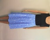 RESERVED for Anna --- ON SALE Vintage High Waist Pleated Knee Length Skirt / Blue with White Floral Pattern / Size M - L