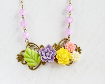 Floral Vintage Style Collage Necklace,Resin Flower Necklace Jewelry,Bridal Jewelry,Bridesmaid Gift,Shabby Chic,Colorful Rainbow Necklace