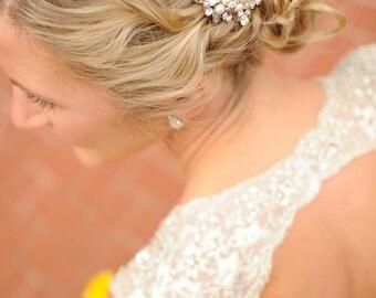 EATHELYN, Vintage style Art Deco Wedding Hair Comb, Rhinestone Pearl Bridal Hair Comb, Victorian Flower Hair Comb, Wedding Hair Accessories