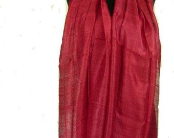 "100 % Thai Raw Pure Silk Scarf Shawl Wrap 24x62"" Large in Blood Red H22"
