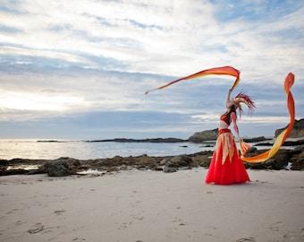 ARIES - Goddess of FIRE - costume - 7pc: Headdress, Bra-Belt set, Skirt, Overskirt, 2 Silk Fan-Veils - OOAK