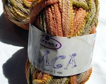 Ruffle yarn, sashay yarn, Ruffling Flamenco, Ruffle lace, ribbon yarn, scarf knit crochet Rumba Salsa yarn in earth shades, mesh yarn, net.