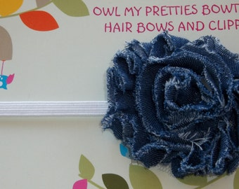 Denim Blue Shabby Frayed Flower White Elastic Headband Baby, Toddler, Girls